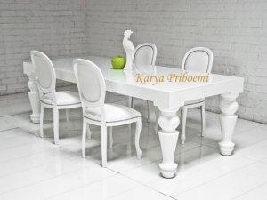 Meja Makan Duco Putih Delapan Kursi