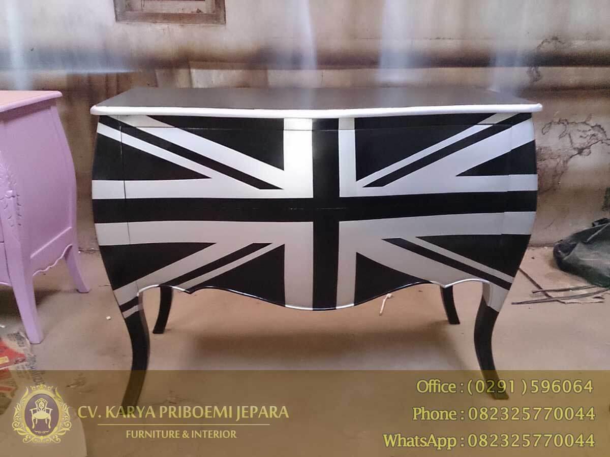 Jual Meja Laci Harga Murah, Drawer Komodo Inggris Hitam Silver