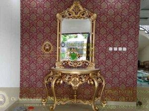 Jual Meja Konsul Klasik Mewah Eolo Emas Antik Furniture Berkualitas Terbaik Harga Murah Asli Jati Jepara Kode KP 486